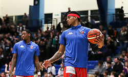 Justin Gray of Bristol Flyers during the warm up - Photo mandatory by-line: Arron Gent/JMP - 28/04/2019 - BASKETBALL - Surrey Sports Park - Guildford, England - Surrey Scorchers v Bristol Flyers - British Basketball League Championship