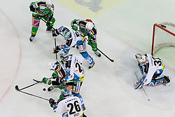 In front of Alex Westlund (EHC Liwest Linz, #32) net during ice-hockey match between HDD Tilia Olimpija and EHC Liwest Black Wings Linz at second match in Semifinal  of EBEL league, on March 8, 2012 at Hala Tivoli, Ljubljana, Slovenia. (Photo By Matic Klansek Velej / Sportida)