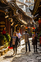The narrow cobblestoned back lanes of the Old Town (Dayan) of Lijiang, Yunnan Province, China. The Old Town is a UNESCO World Heritage Site.