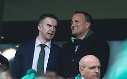 Ireland's Taoiseach Leo Varadkar with his partner Dr. Matt Barrett at the Guinness Six Nations match at the Aviva Stadium, Dublin.