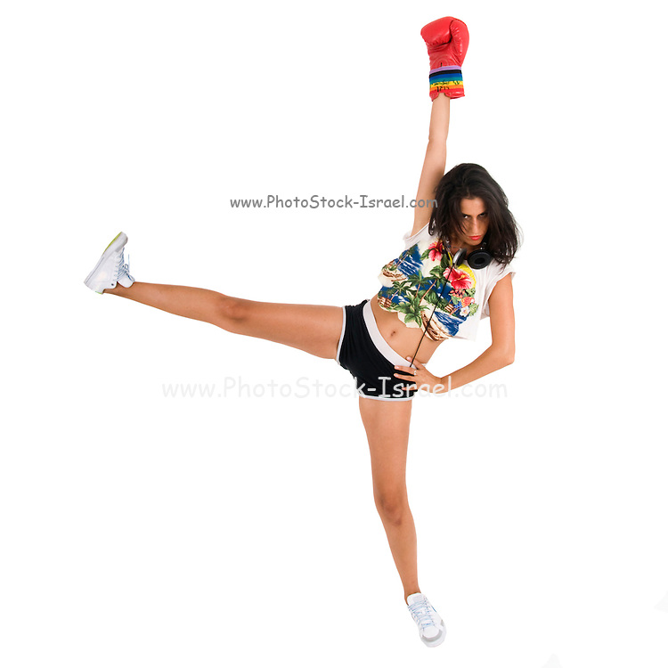 victories Female kick boxer on white background