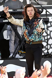 "Harry Styles of One Direction performs on ""Good Morning America"" in Central Park in New York."