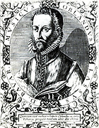 Printed illustration of Orlando Lassus, Composer and musician from the Netherlands. Circa 1532-1594. Active in Italy, England and France, He composed both sacred and secular works. Ennobled by Maximilian II in 1570. From a copperplate engraving.