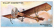 Antoinette' monoplane of Hubert Latham (1883-1912) French aviator. From series of cards on aviation published c1910. Chromolithograph.