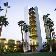 Retro-style Hotel Valley Ho located in Scottsdale, Arizona brings a little grooviness to the area with its palm trees and martini shaped pool.