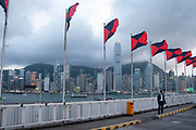 Flags flutter in the wind on a rooftop carpark in Tsim Sha Tsui in Hong Kong, China. Clouds form over the peak as the light fades and collect over the Hong Kong dramatic night skyline. Many of Hong Kong's distinctive buildings line up including the once dominant Bank of China building. Two International Finance Centre now towers over the skyline at 88 stories 415m tall, lighting up the clouds it nearly reaches. Below in the water a Star Ferry crosses from the main terminal at Tsim Sha Sui in Kowloon to Central.