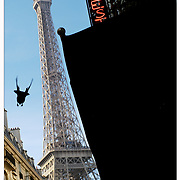 A bird flies away from my cafe table in Paris, France after realizing it was wasn't going to get fed.  Leica M10