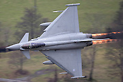 """Exclusive pictures<br /> Raf Pilot Gives a wave at 500 mph!<br /> <br /> RAF Eurofighter EF-2000 Typhoon FGR4 ZJ914 17 SQN from Coningsby, during a low level training exercise in LFA7 (Low Flying Area 07) Mid Wales. The area known as the """"Machynlleth Loop"""" is where these jets can be seen. Training the pilots at low level is an essential and demanding skill that requires constant practice.<br /> This picture was taken from the side of a hill in the Cadair Idris mountain range using a Canon EOS 1D + 500mm lens. On both passes, he was approx 100yds away. On his first pass, the pilot could clearly see me and exchanged a wave. His second pass was very spectacular. Mid way through the turn, he lit up the burners and powered out of the turn reaching around 400kts!<br /> ©Pater Bailey/Exclusivepix"""