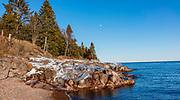 Winter along the shore of Lake Superior. Lutsen, Minnesota, USA.