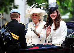 © licensed to London News Pictures. LONDON UK  11/06/11.The duchess of Cambridge , Duchess of Cornwall and Prince Harry attend The Queens Birthday celebrations in London. Please see special instructions for usage rates. Photo credit should read ALAN ROXBOROUGH/LNP