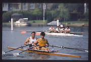 Henley on Thames. Henley,  United Kingdom. <br /> Double Scull, Bow Ian DRYSDALE and Richard STANHOPE. GBR rowing Team Training on Henley Reach, England.<br /> [Mandatory Credit; Peter SPURRIER/Intersport Images] 1990 GBRowing Training on Henley Re 1990 GBRowing Training on Henley Reach. UK