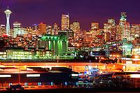 Seattle Skyline featuring Pier 86 Grain Terminal & Smith Cove Waterway