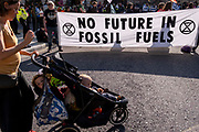 Climate Change Extinction Rebellion protesters concerned about the fossil fuel economy occupy Bank in the City of London, the capitals financial district, on 2nd September 2021, in London, England.
