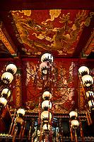 The beautifully elaborate ceiling of Po Lin Monastery on Lantau Island, Hong Kong.