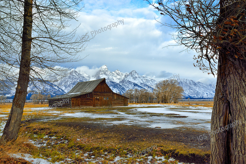 Light Snow at the T.A Moulton Barn in Grand Teton National Park