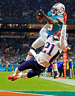 Miami Dolphins wide receiver Jakeem Grant (19) on a third quarter reception as New England Patriots cornerback Malcolm Butler (21) defends during the Miami Dolphins against the New England Patriots game at hard Rock Stadium on Monday, December 11, 2017.