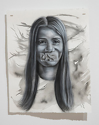 April 26, 2018 - Tampa, Florida, U.S. - A charcoal portrait of Parkland victim Alaina Petty, by Symone Hall in the BFA show at the Scarfone/Hartley Gallery at the University of Tampa, on April 26, 2018 in Tampa, Fla. (Credit Image: © Monica Herndon/Tampa Bay Times via ZUMA Wire)
