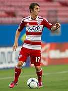 FRISCO, TX - JUNE 12:  Zach Loyd #17 of FC Dallas brings the ball up the field against the Houston Dynamo on June 12, 2013 at FC Dallas Stadium in Frisco, Texas.  (Photo by Cooper Neill/Getty Images) *** Local Caption *** Zach Loyd