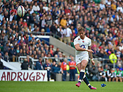 England fly-half Danny Cipriani (Sale Sharks) converts another try during the International Rugby Union match England XV -V- Barbarians at Twickenham Stadium, London, Greater London, England on May  31  2015. (Steve Flynn/Image of Sport)