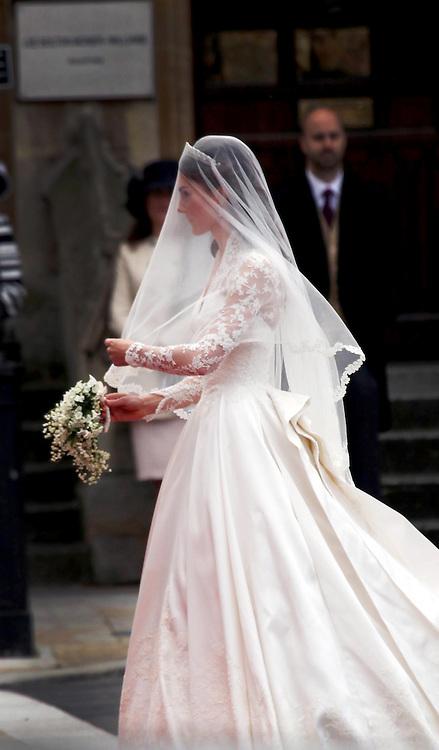 29 April 2011. London, England..Royal wedding day. Catherine (Kate) Middleton arrives at Westminster Abbey..Photo; Charlie Varley.