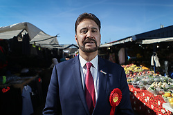 © Licensed to London News Pictures. 25/03/2017. Manchester, UK. Afzal Khan, Labour's candidate in the Gorton by-election, launches his campaign at Longsight Market in Manchester. The by-election was triggered after the death of the long serving Labour MP Sir Gerald Kaufman last month. Labour is facing stiff competition not only from the Lib Dems but also from former MP George Galloway who is standing as an independent. Photo credit : Ian Hinchliffe/LNP