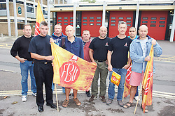 © Licensed to London News Pictures.  25/09/2013. OXFORD, UK. Full and part time firefighters picket outside the main fire station in Oxford city centre during a nationwide four hour strike, the first for 11 years, in a dispute over pension rights. Photo credit: Cliff Hide/LNP