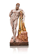 Painted colour verion of end of 2nd century beginning of 3rd century AD Roman marble sculpture of Hercules at rest copied from the second half of the 4th century BC Hellanistic Greek original,  inv 6001, Farnese Collection, Museum of Archaeology, Italy