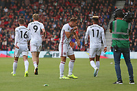 Football - 2019 / 2020 Premier League - AFC Bournemouth vs. Sheffield United<br /> <br /> Billy Sharp of Sheffield United kisses the badge on his shirt after equalising at the Vitality Stadium (Dean Court) Bournemouth <br /> <br /> COLORSPORT/SHAUN BOGGUST