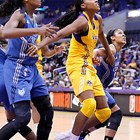 17 June 2014: Los Angeles Sparks forward/center Sandrine Gruda (7) vies for the rebound with Minnesota Lynx forward Devereaux Peters (14) during the Minnesota Lynx  94-77 victory over the Los Angeles Sparks, at the Staples Center, Los Angeles, California, USA.