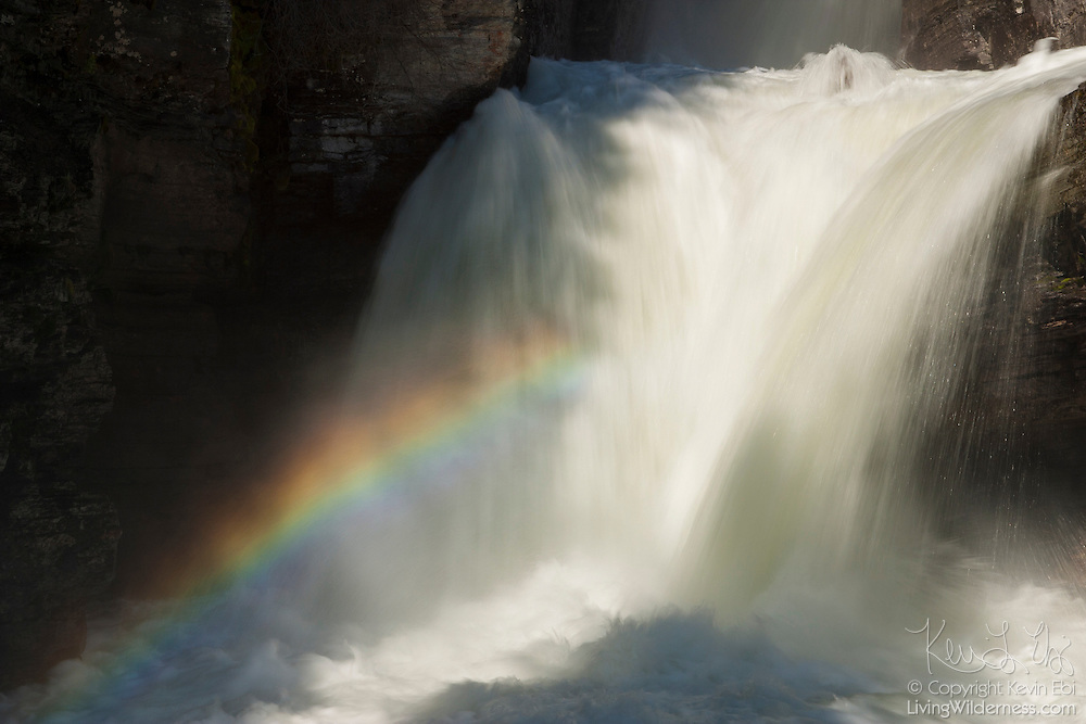 A rainbow forms in the mist of St. Mary Fall, a 50-foot waterfall located on the St. Mary River in Glacier National Park, Montana.