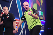 Michael van Gerwen hits a double and wins a leg and celebrates during the PDC William Hill Darts World Championship at Alexandra Palace, London, United Kingdom on 13 December 2019.