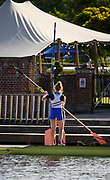Henley-On-Thames, Berkshire, UK.,  3rd August 2020 Athletes, Crews boating from Leander Club for training,  [Mandatory Credit © Peter Spurrier/Intersport Images],  Women's pair, , Training during, the  coronavirus (COVID-19), pandemic,