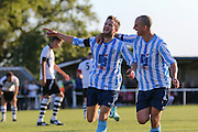 Jack Hayward of Worthing United scores to put his side 1-0 in front and celebrates during the FA Vase 1st Qualifying Round match between Worthing United and East Preston FC at the Robert Eaton Memorial Ground, Worthing, United Kingdom on 6 September 2015. Photo by Phil Duncan.