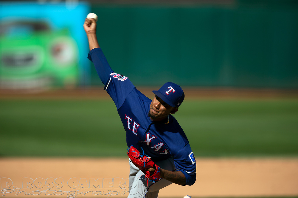 Texas Rangers pitcher Emmanuel Clase (43) delivers against the Oakland Athletics during the seventh inning of a baseball game, Sunday, Sept. 22, 2019, in Oakland, Calif. (AP Photo/D. Ross Cameron)