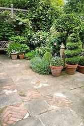 Decorative paving on terrace