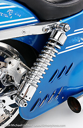 """""""Metzeler Blue Shovel, """" built by Arlen Ness. This bike was used by Metzeler in an ad and poster campain. It has a 80-inch Shovelhead motor. The bike was built on a stock FXR frame customized with a front stretch. <br /> <br /> Appears in the Arlen Ness book """"The King of Choppers,"""" by Michael Lichter and Arlen Ness"""
