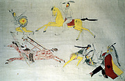 Sioux Warriors in battle. Dakota, North American Plains Indians. Painting on unbleached muslin c1890. Field Museum Chicago