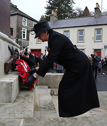 First Minister Arlene Foster lays a wreath at a Remembrance Sunday service at the Cenotaph in Enniskillen, held in tribute for members of the armed forces who have died in major conflicts.