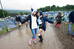 Caroline Carmichael & Rebekah Toland. Camp site..Rockness, Sunday 13th June..Pic ©2010 Michael Schofield. All Rights Reserved.