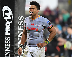 Southern Kings' Berton Klaasen<br /> <br /> Photographer Mike Jones/Replay Images<br /> <br /> Guinness PRO14 Round Round 15 - Ospreys v Southern Kings - Friday 16th February 2018 - Liberty Stadium - Swansea<br /> <br /> World Copyright © Replay Images . All rights reserved. info@replayimages.co.uk - http://replayimages.co.uk