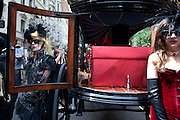 PAM HOGG; RACHEL 2, Sebastian Horsley funeral. St. James's church. St. James. London afterwards in the church garden. July 1 2010. -DO NOT ARCHIVE-© Copyright Photograph by Dafydd Jones. 248 Clapham Rd. London SW9 0PZ. Tel 0207 820 0771. www.dafjones.com.