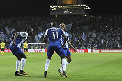 October 21, 2017 - Porto, Porto, Portugal - Porto's Malian forward Moussa Marega telebrates after scoring goal with teammates Porto's Cameroonian forward Vincent Aboubakar (l) and Porto's Algerian forward Yacine Brahimi (R) during the Premier League 2017/18 match between FC Porto and FC Pacos de Ferreira, at Dragao Stadium in Porto on October 21, 2017. (Credit Image: © Dpi/NurPhoto via ZUMA Press)