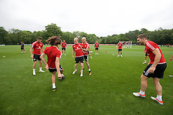 CARDIFF, WALES - Saturday, June 4, 2016: Wales' Jonathan Williams and David Cotterill during a training session at the Vale Resort Hotel ahead of the International Friendly match against Sweden. (Pic by David Rawcliffe/Propaganda)