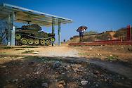 French military tank on Hill A1 'Eliane 2' in Dien Bien Phu, Muong Thanh Valley, Dien Bien Province, Vietnam, Southeast Asia
