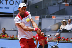 May 9, 2018 - Madrid, Spain - Novak Djokovic against Kyle Edmund during day five of the Mutua Madrid Open tennis tournament at the Caja Magica on May 9, 2018 in Madrid, Spain. (Credit Image: © Oscar Gonzalez/NurPhoto via ZUMA Press)