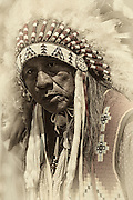 Ute Native American Chief with eagle feather warbonnet.