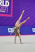 Ashram Linoy during final of the Pesaro World Championships at Vitrifrigo Arena on 30 May 2021. Linoy is an Isrlaelian rhythmic gymnastics athlete born on May 13,1999 in Tel Aviv.