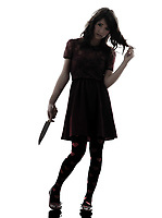 one  strange young woman killer holding bloody knife in silhouette white background