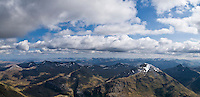 Sgurr a' Mhaim and the peaks of the Mamore mountains seen from the summit of Ben Nevis, Scotland
