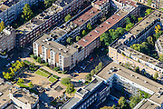 Nederland, Noord-Holland, Amsterdam, 27-09-2015; Amsterdam-Zuid, Rivierenbuurt, onderdeel van Plan-Zuid van H.P. Berlage. Meerhuizenplein, stadsvernieuwings architectuur in Amsterdamse School stijl.<br /> Rivierenbuurt, neighbourhood in the south of Amsterdam, part of the Plan Zuid urban expansion programme designed by architect Berlage.  Amsterdam School style architecture. <br /> <br /> luchtfoto (toeslag op standard tarieven);<br /> aerial photo (additional fee required);<br /> copyright foto/photo Siebe Swart